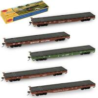 3pcs HO Scale 1:87 52' Flat Car Flatbed Transporter 52ft Container Carriage