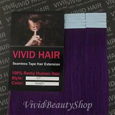 10pcs 22 inches Remy Seamless Tape Skin Weft Human Hair Extensions Purple Haze