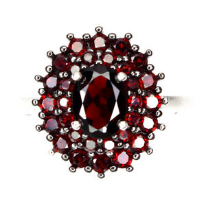 Unheated Oval Mozambique Garnet 7x5mm Natural 925 Sterling Silver Ring Size 6
