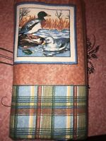 "THERMAL BLANKET ~ Vtg Duck Mallard Goose Plaid Polyester Acrylic 73"" x 88"" Twin"