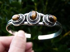 Tigers Eye Silver Cuff Bangle / Bracelet.