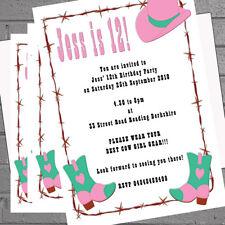 Festa di compleanno Inviti Personalizzati Cowgirl Stivali e cappello x 12 Inc ENV H0500