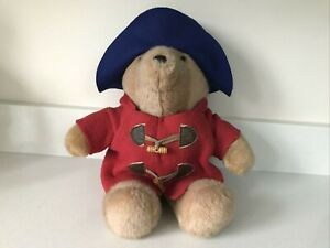 "Paddington Bear Soft Toy Plush 15"" Teddy with Red Coat & Blue Felt Hat by Eden"