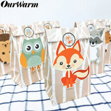 12x Woodland Party Favor Bags Animals Candy Treat Gift Bags Kids Birthday Favor