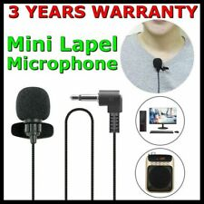 Mini Lapel Mic Clip On Lavalier Microphone 3.5mm For Phones PC Laptops Recording