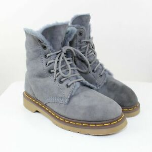 Dr. Martens Ladies Blue Suede Fur Insulated Boots Size 7