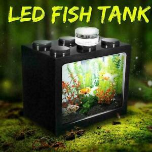Mini Aquarium USB Aquarium Mit LED Lampe Licht Betta Zylinder Kampf Fisch 2021