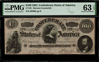CT-65 $100 1864 Confederate Currency CSA - Havana Counterfeit - PMG 63 EPQ for sale