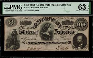 CT-65 $100 1864 Confederate Currency CSA - Havana Counterfeit - PMG 63 EPQ