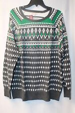 NEW WOMENS PLUS SIZE 4X MERONA GREEN  GRAY &  WHITE FAIR ISLE PULLOVER SWEATER