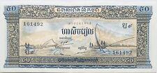 1972 Cambodia/Kampuchea 50 Cambodian Riels Banknote Fishermen/Angkor Wat Asia
