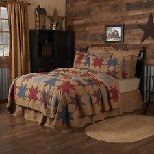 VHC Primitive Quilt Kindred Star Bedding Tan Cotton Star Patchwork