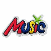 Colour Music Text (Iron on) Embroidery Applique Patch Sew Iron Badge