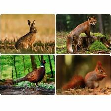 British Wildlife Placemats Table Mats Set of 4 Fox Hare Pheasant Red Squirrel