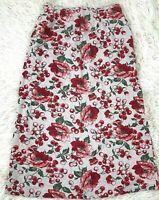 """FL Malik  Sz10 Linen Blend Long """"Cherries"""" Skirt Boho Lagenlook Women's Vintage"""