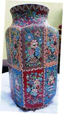 """14.5"""" LONGWY STYLE COLOURFULL FAIENCE SQUARE BALUSTER CERAMIC VASE HANDPAINTED"""
