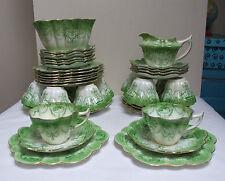 SHELLEY WILEMAN FOLEY TEA SET 39 piece SNOWDROP GREEN CAMEO c.1901 ANTIQUE