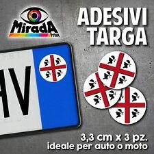 ADESIVI STICKERS BOLLINO TARGA BANDIERA SARDA SARDEGNA 4 MORI AUTO MOTO PLATE