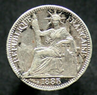 10 CENTIMES 1885 INDOCHINE / INDOCHINA 10 cents (Argent / Silver)