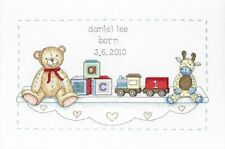 Ancre le Toy Shelf Birth Sampler Baby Record Counted Cross Stitch Kit ACS06