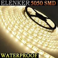 EK - 5M 5050 SMD 300 LED Warm White Strip Light Waterproof 12V DC + Female Plug