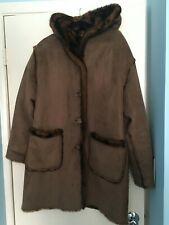 JONES NY - Reversible Brown Faux Fur Mink/Suede Hooded Coat - Size L