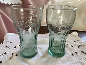 Vintage Coca Cola Green Glasses Coke The Real Thing Raised Lettering X 2