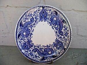Vtg Art Deco U & C Sarreguemines French Pottery Blue & White Dragon Plate Saucer
