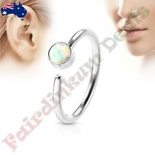 316L Surgical Steel Nose Hoop Ring with White Set Opal