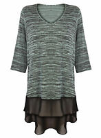 Marina Kaneva Plus Size L Green 3/4 Sleeve V Neck Tunic Blouse Size 16-32