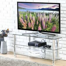Glass TV Stand Entertainment Center Media Console Storage Cabinet Furniture