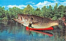 FISHING IS GREAT IN NORTHERN CALIFORNIA-EXAGGERATION POSTCARD 1960s