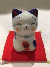 Lucky Cat Ornament with Lucky Fish (Tai) Wishing Hands Blue & Red F/S