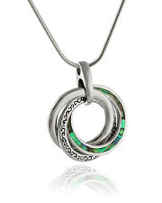 Abalone Three Circles Pendant Necklace -925 Sterling Silver-Circle Infinity SN
