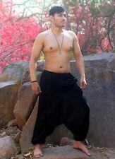 Men's Hemp Cotton Harem Pants Boho Hippie Yoga Handmade Plain Loose Trousers