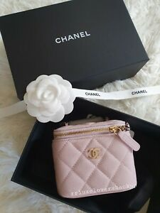 CHANEL 21S ROSE CLAIR CAVIAR VANITY HOLDER ON CHAIN WITH LIGHT GOLD HARDWARE