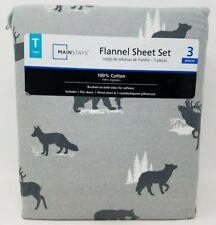 Twin Flannel 3 piece Sheet Set Wilderness Bear Deer Elk Mainstays New