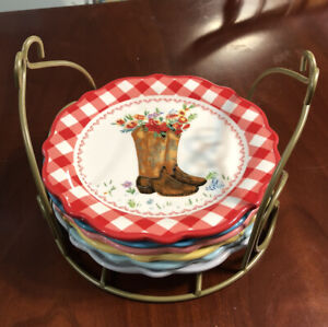 The Pioneer Woman Gingham Medley Animal Appetizer Plates & Rack