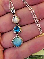 "18""  Larimar, Swiss Blue Topaz, Fresh Water Pearl Sterling Silver Pendant & Chn"