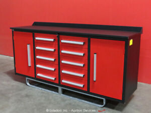 Steelman 10-Drawer 7FT Steel Work Bench Tool Cabinet Shop Box bidadoo -New