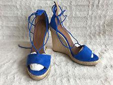 Aquazzura Firenze Alexa Wedge 120 Sandal Mondrian Blue Suede 7 37-38 NIB $375