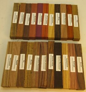 "22 Different Exotic Wood Pen Blanks ¾""x5"" Cocobolo, Zebrawood, Bocote M-22"