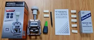 1 METAL 7 DIGIT AUTOMATIC NUMBERING MACHINE STAMP 7 PADS & 2 BOTTLES INK UK SELL