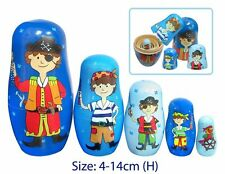 RUSSIAN NESTING Stacking Wooden BABUSHKA DOLL EDUCATIONAL Preschool Toy PIRATES