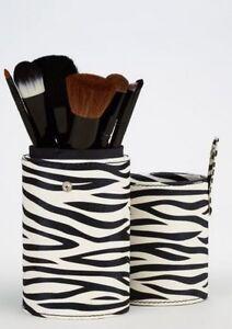 CROWN BRUSH 7 Piece Pro MAKEUP Brush Set & ZEBRA Storage Tube/Case Cosmetic