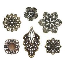 Buddly Crafts Metal Filigree Assorted Flower Wraps - 18pcs Antique Bronze #1