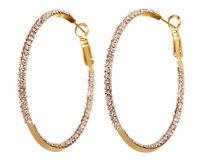 "Swarovski Elements Crystal 2"" Baha Hoop Pierced Earrings Gold Authentic 7216v"