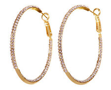 "Swarovski Elements Crystal 2"" Baha Hoop Pierced Earrings Gold Plated New 7216x"