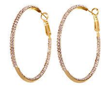 "Swarovski Elements Crystal 2"" Baha Hoop Pierced Earrings Gold Plated New 7216z"
