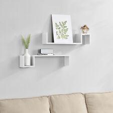[en.casa] Étagère murale en kit de 2 étagère suspendre étagère de livre CD blanc